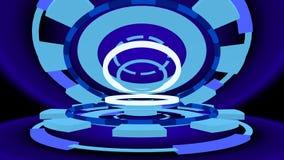 Trasto con los anillos que brillan intensamente, de la ciencia ficción ejemplo 3d Imagenes de archivo