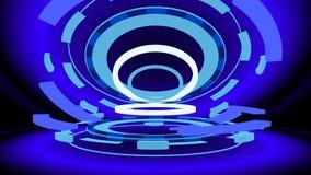 Trasto con los anillos que brillan intensamente, de la ciencia ficción ejemplo 3d Imágenes de archivo libres de regalías