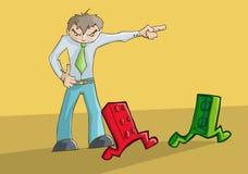 Trastorno enojado del hombre que señala a la izquierda Imagen de archivo libre de regalías