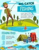 Trastos del equipo y del pescador de pesca stock de ilustración