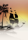 Trasure island galleon sunset Royalty Free Stock Photo