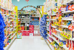 TRAT, Thailand - 28. Dezember 2014: speichern Sie Shopeinzelhandel bei Tesco Lizenzfreie Stockbilder