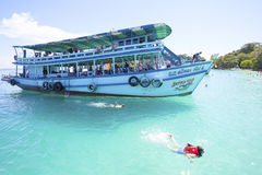 TRAT THAILAND - OCT29 : visitor boat and traveler snorkeling and Royalty Free Stock Photos