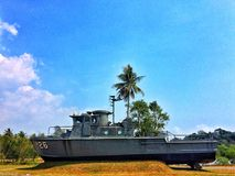 Warship sea mariner ancient conserve army travel. At trat, thailand Royalty Free Stock Photography