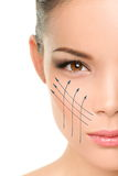 Tratamento antienvelhecimento do restauro na pele da cara da mulher Fotografia de Stock