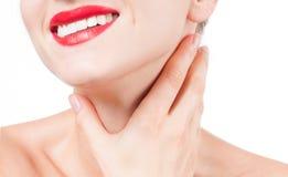Tratamento antienvelhecimento Pescoço bonito da mulher imagens de stock