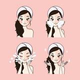 Tratamento de limpeza facial da acne da etapa pela menina bonita ilustração do vetor