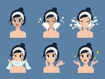 Tratamento de limpeza facial da acne da etapa pela menina bonita ilustração royalty free