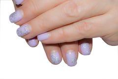 Tratamento de mãos bonito em pregos Imagens de Stock Royalty Free