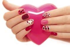 Tratamento de mãos com corações Fotografia de Stock