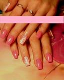Tratamento de mãos cor-de-rosa com flores ilustração royalty free