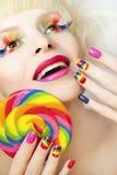 Tratamento de mãos do arco-íris Fotografia de Stock