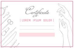 Tratamento de mãos do molde do certificado e projeto do prego Mãos do cuidado dos termas do diploma ilustração stock