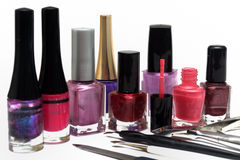 Tratamento de mãos do verniz para as unhas e das ferramentas Foto de Stock