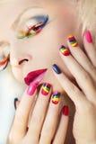 Tratamento de mãos e composição do arco-íris Foto de Stock