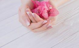 Tratamento de mãos francês de Ombre com flores imagens de stock