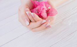 Tratamento de mãos francês de Ombre com flores imagem de stock royalty free