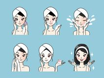 Tratamento facial de limpeza facial da acne da etapa saudável e para parecer mais novo ilustração royalty free