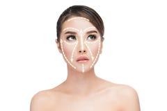 Tratamiento antienvejecedor del lifting facial foto de archivo libre de regalías