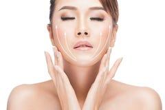 Tratamiento antienvejecedor del lifting facial fotografía de archivo