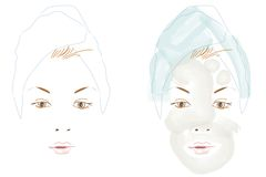 Tratamiento de la belleza stock de ilustración
