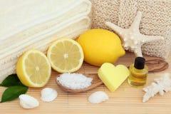 Tratamiento de la belleza del balneario del limón Foto de archivo libre de regalías