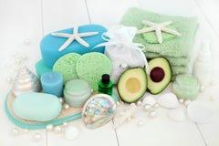 Tratamiento de la belleza de Skincare del aguacate Imágenes de archivo libres de regalías