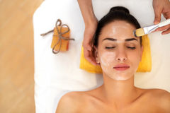 Tratamiento de la cara La mujer en salón de belleza consigue a Marine Mask Imagen de archivo