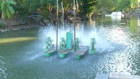 Tratamiento de la contaminación de agua del ambiente Máquina eléctrica de la turbina del agua para el oxígeno del aumento en las  almacen de video