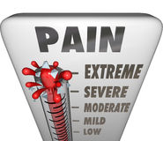 Tratamiento de la diagnosis de Max Pain Level Thermometer Painful Foto de archivo libre de regalías