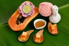 Tratamiento del balneario con la papaya, huney Imagen de archivo libre de regalías