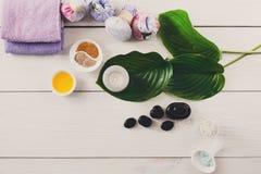 Tratamiento del balneario, fondo del aromatherapy Detalles y accesorios Fotos de archivo