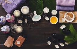 Tratamiento del balneario, fondo del aromatherapy Detalles y accesorios Foto de archivo