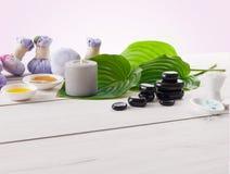 Tratamiento del balneario, fondo del aromatherapy Detalles y accesorios Foto de archivo libre de regalías