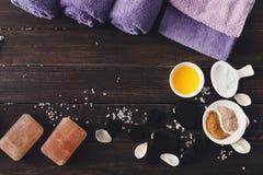 Tratamiento del balneario, fondo del aromatherapy Detalles y accesorios Fotos de archivo libres de regalías
