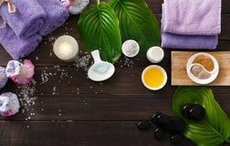 Tratamiento del balneario, fondo del aromatherapy Detalles y accesorios Fotografía de archivo libre de regalías