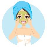 Tratamiento facial de la máscara del balneario stock de ilustración