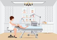 Tratamiento facial del masaje del balneario con el vapor facial del ozono en cama Fotografía de archivo