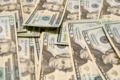 Tratamiento por lotes de los billetes de banco 20$ una cierta superficie Foto de archivo