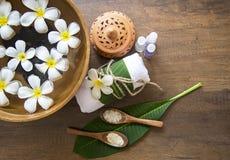 Tratamiento y producto del balneario para el balneario femenino de los pies, Tailandia Seleccione el foco Fotos de archivo libres de regalías