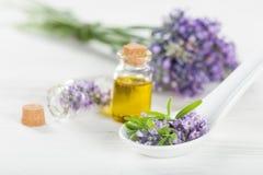 Tratamientos de la salud con las flores de la lavanda Imagen de archivo