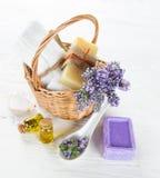 Tratamientos de la salud con las flores de la lavanda Foto de archivo
