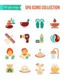 Tratamientos del balneario para los hombres y las mujeres Sistema de balneario y de iconos planos de la belleza Salón de la atenc Fotos de archivo