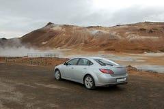 Tratando el crisol del fango con vapor, lago Myvatn, Islandia, Fotos de archivo