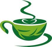 Tratar la taza de café con vapor verde Fotos de archivo