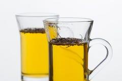 Tratar té con vapor verde fresco caliente del té hojea Imagen de archivo