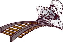 Trate el tren con vapor que sube Imagen de archivo