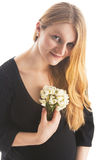 Trate a la mujer con suavidad rubia bastante embarazada Imágenes de archivo libres de regalías