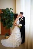 Trate la novia y al novio del beso con suavidad Foto de archivo libre de regalías