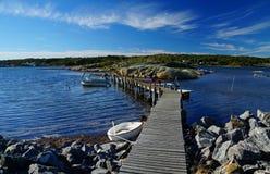 Trate las ondas, las rocas desnudas y un embarcadero con suavidad de madera entre dos islas foto de archivo libre de regalías